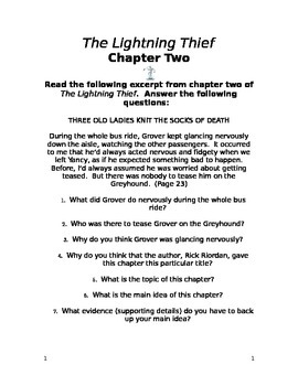 The Lightning Thief Chapter Two Study Guide