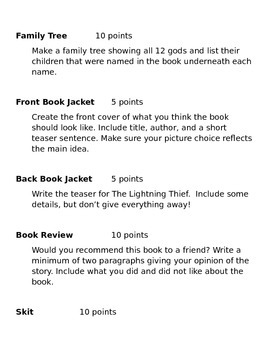 The Lightning Thief Choice Sheet