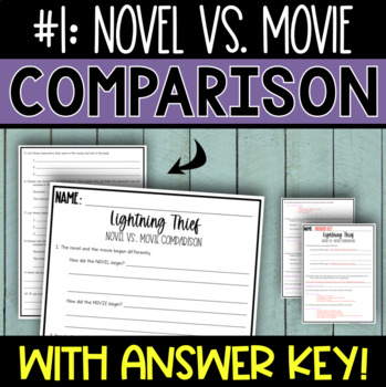 The Lightning Thief by Riordan - Compare & Contrast Novel vs. Movie Activities