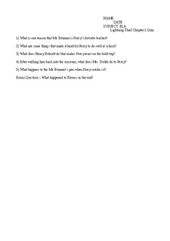The Lightning Thief Complete 22 Chapter Quiz Pack and Answer Keys