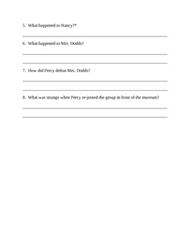 The Lightning Thief Comprehension questions