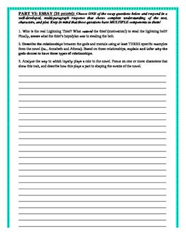 The Lightning Thief: Final Novel Exam