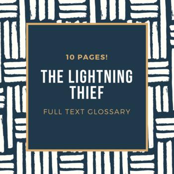 The Lightning Thief: Full Text Glossary {Editable}