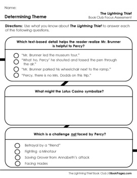 The Lightning Thief Lesson Plan, (Book Club Format - Determining Theme) (CCSS)