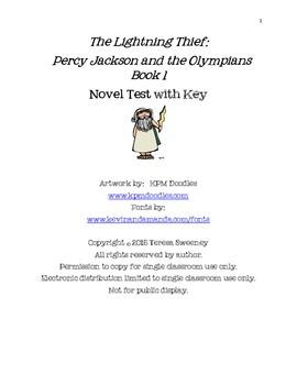 The Lightning Thief:  Percy Jackson Book One Novel Test