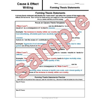 The Lightning Thief Percy Jackson Cause and Effect Essay Writing Unit