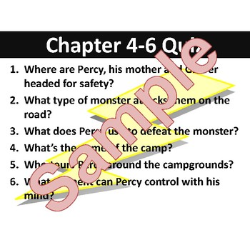 The Lightning Thief Percy Jackson Chapter Quizzes, Questions, & Journal Prompts