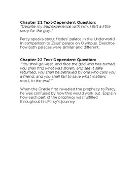 The Lightning Thief Text Dependent Questions Ch. 17-22
