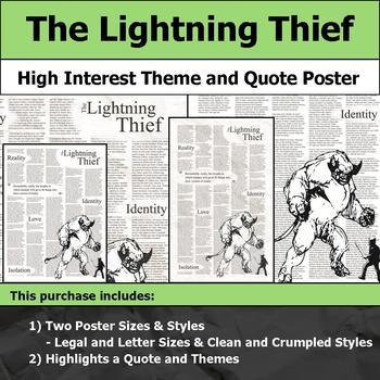 The Lightning Thief - Visual Theme and Quote Poster for Bulletin Boards