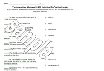 The Lightning Thief Vocabulary List and Quizzes