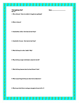 """""""The Lightning Thief"""", by R. Riordan, Comprehension Questions"""