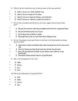 The Lightning Thief by Rick Riordan - Final Test