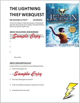 The Lightning Thief Pre-Reading Activity Web Quest