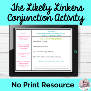 The Likely Linkers Lesson Conjunctions Speech NO PRINT Digital Teletherapy