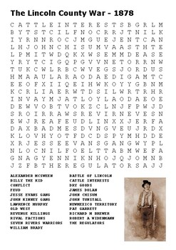 The Lincoln County War Word Search