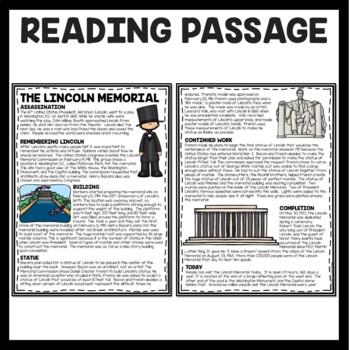 The Lincoln Memorial Reading Comprehension; American Landmark; Washington DC