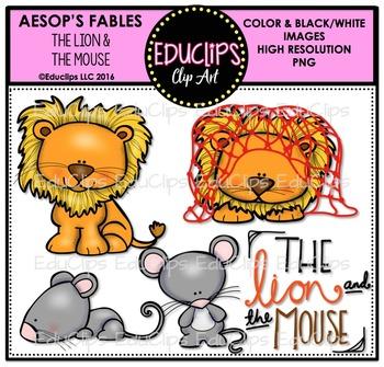 The Lion And The Mouse (Aesop's Fable) Clip Art Bundle {Educlips Clipart}