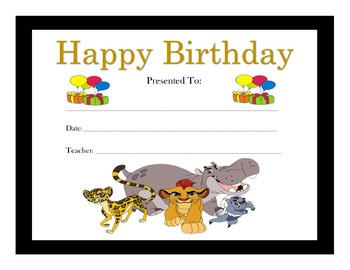 The Lion Guard Birthday Certificates (Includes 6 Certificates)