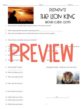 The Lion King (2019) Movie Guide *35 Questions & Answer Key!/Character Guide*
