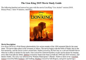 The Lion King (2019), WALL-E, and Finding Nemo Movie Study Guides and Answers