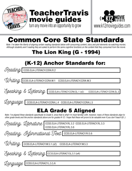 The Lion King Movie Viewing Guide (G - 1994)