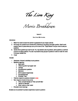 The Lion King-Questions and Breakdown