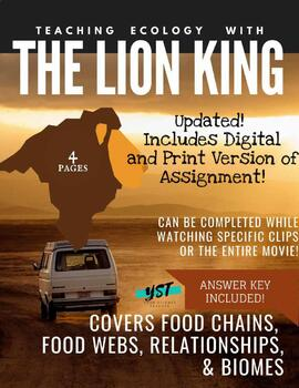 DISTANCE LEARNING The Lion King - Food Chains & Webs, Relationships, & Biomes