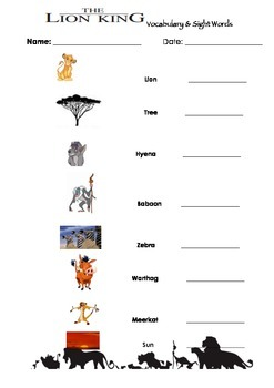 The Lion King- Vocabulary & Sight Words Practice