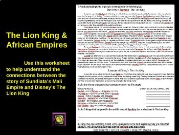 The Lion King compared to Sundiata and The Empire of Mali