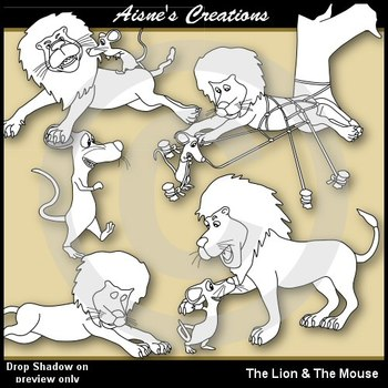The Lion & The Mouse Clip Art Pack