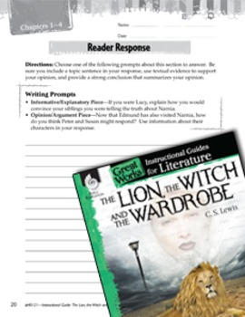 The Lion, The Witch And The Wardrobe Reader Response Writing Prompts