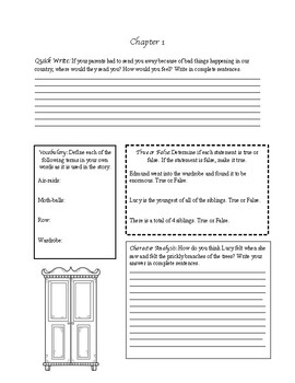 Lion Witch Wardrobe Chapter 1 Worksheets & Teaching
