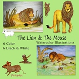 The Lion and The Mouse Watercolor Illustration clipart Aesop's Fables