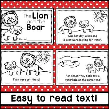 The Lion and the Boar Fable Emergent Reader