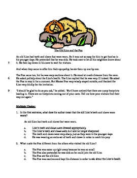 The Lion and the Fox - Literary Text Test Prep