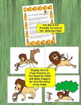The Lion and the Mouse Easy Read Aesop's Fable Great for ESL ELL SPED
