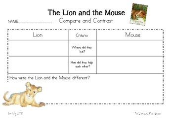 The Lion and the Mouse Compare and Contrast with Criteria