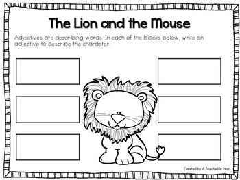 the lion and the mouse fable by a teachable year tpt. Black Bedroom Furniture Sets. Home Design Ideas
