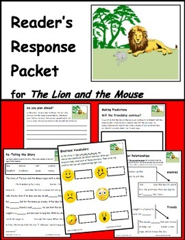 The Lion and the Mouse- Fable Reading Response Packet