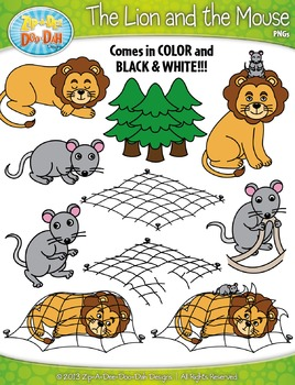 image relating to The Lion and the Mouse Story Printable referred to as The Lion and the Mouse Famed Fables Clipart Zip-A-Dee-Doo-Dah Types