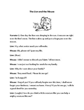 The Lion and the Mouse Reader's Theater and Assessment