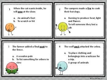Multiple Meaning Word Task Cards - Intermediate Grades! Test Prep