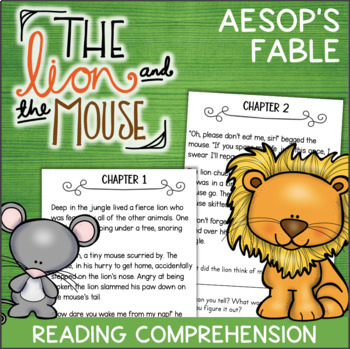 The Lion and the Mouse Reading Comprehension Activity Book - Aesop's Fables