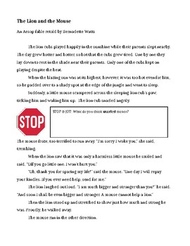 The Lion and the Mouse Reading comprehension with Stop and Jot points (Fable)