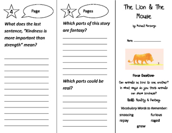 The Lion and the Mouse Trifold - Imagine It 2nd Grade Unit 1 Week 4