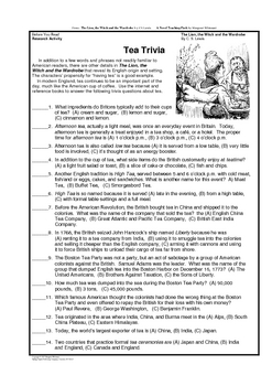 The Lion, the Witch. . . Free Prereading Activity/Tea Trivia