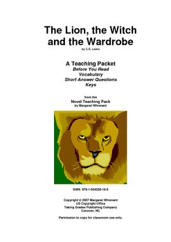 The Lion, the Witch. . .    Prereading/Vocabulary/Short Answer