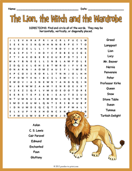 The Lion, the Witch and the Wardrobe Word Search Puzzle
