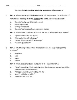 The Lion, the Witch, and the Wardrobe Assessment Chapters 11-14 with answer key