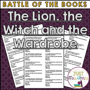 The Lion, the Witch and the Wardrobe Battle of the Books Trivia Questions
